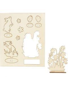 Zusammensteckbare Holzfiguren, Hasen und Blumen, L: 20 cm, B: 17 cm, 1 Pck.