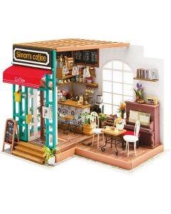 DIY-Miniatur-Zimmer, Kaffeestube, H: 19 cm, L: 22,6 cm, B: 19,4 cm, 1 Stck.