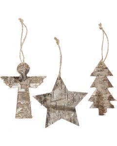 Weihnachtliche Holzfiguren, H: 10 cm, B: 8 cm, 3 Stck./ 1 Pck.