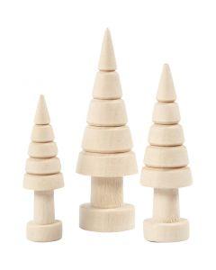 Holz-Tannenbaum - Sortiment, H: 5+6+7 cm, D: 14+18+22 mm, 3 Stck./ 1 Pck.
