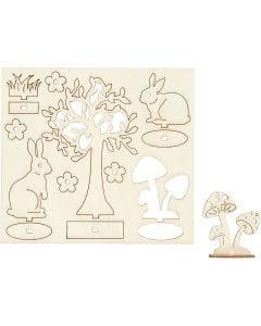 Zusammensteckbare Holzfiguren, L: 15,5 cm, B: 17 cm, 1 Pck.