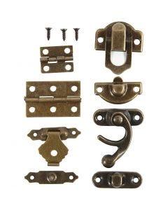Mini-Beschläge, Größe 16x19-21,5x31 mm, Antikgold, 15 Set/ 1 Pck.