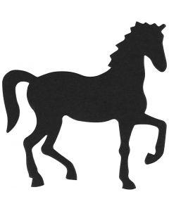 Stanzfigur aus Karton, Pferd, Größe 60x64 mm, Schwarz, 10 Stck./ 1 Pck.