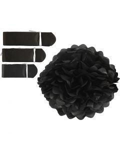 Seidenpapier-Pompons, D: 20+24+30 cm, 16 g, Schwarz, 3 Stck./ 1 Pck.