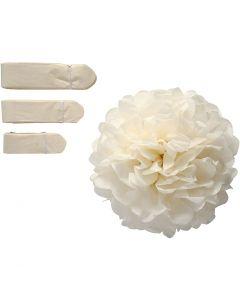 Seidenpapier-Pompons, D: 20+24+30 cm, 16 g, Naturweiß, 3 Stck./ 1 Pck.