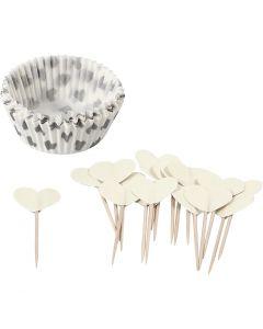 Cupcake-Formen und Picker, H: 3 cm, D: 5 cm, 40 g, Naturweiß, 24 Set/ 1 Pck.