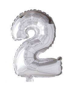 Folienballon - 9, 2, H: 41 cm, Silber, 1 Stck.