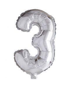 Folienballon - 9, 3, H: 41 cm, Silber, 1 Stck.