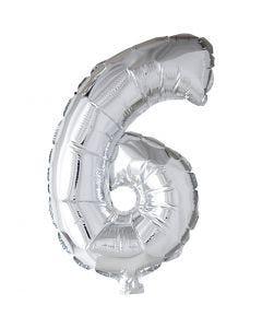 Folienballon - 9, 6, H: 41 cm, Silber, 1 Stck.
