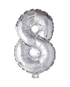 Folienballon - 9, 8, H: 41 cm, Silber, 1 Stck.