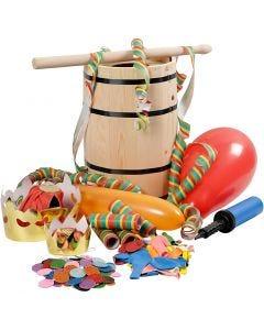 Holzfass, gefüllt mit Karnevals-Artikeln, H: 38 cm, klein, 1 Set