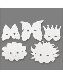 Masken, H: 15-20 cm, 230 g, Weiß, 5 Stck./ 1 Pck.