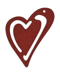 Asymmetrisches Herz, Größe 55x45 mm, Weinrot, 10 Stck./ 1 Pck.