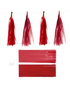 Papier-Quasten, Größe 12x35 cm, 14 g, Weinrot/Rot, 12 Stck./ 1 Pck.