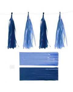 Papier-Quasten, Größe 12x35 cm, 14 g, Dunkelblau/Hellblau, 12 Stck./ 1 Pck.