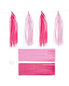 Papier-Quasten, Größe 12x35 cm, Pink, Rosa, 12 Stck./ 1 Pck.