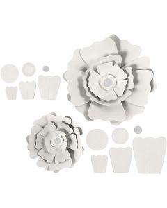 Papierblumen, D: 15+25 cm, 230 g, Weiß, 2 Stck./ 1 Pck.