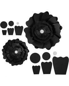 Papierblumen, D: 15+25 cm, 230 g, Schwarz, 2 Stck./ 1 Pck.