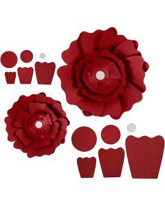 Papierblumen, D: 15+25 cm, 230 g, Rot, 2 Stck./ 1 Pck.