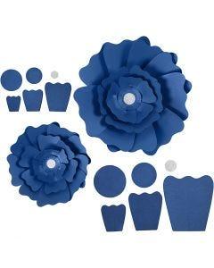 Papierblumen, D: 15+25 cm, 230 g, Blau, 2 Stck./ 1 Pck.