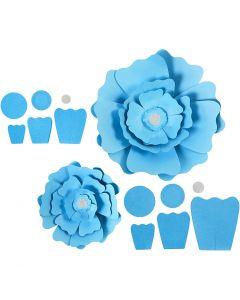 Papierblumen, D: 15+25 cm, 230 g, Hellblau, 2 Stck./ 1 Pck.