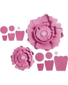 Papierblumen, D: 15+25 cm, 230 g, Rosa, 2 Stck./ 1 Pck.