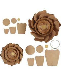 Papierblumen, D: 15+25 cm, Natur, 2 Stck./ 1 Pck.