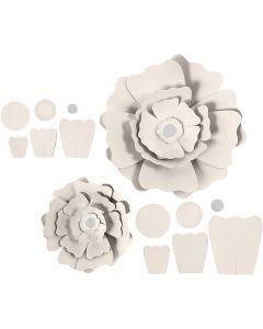 Papierblumen, D: 15+25 cm, 230 g, Naturweiß, 2 Stck./ 1 Pck.