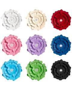 Papierblumen, Sortierte Farben, 9x10 Pck./ 1 Pck.
