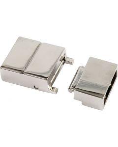 Magnetverschluss, Größe 25x16x6 mm, Lochgröße 4x8 mm, Versilbert, 1 Stck.