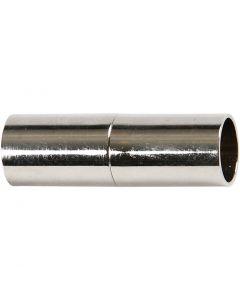 Magnetverschluss, L: 23 mm, Lochgröße 6 mm, Versilbert, 2 Stck./ 1 Pck.