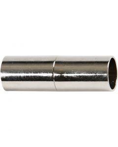 Magnetverschluss, L: 20 mm, Lochgröße 5 mm, Versilbert, 2 Stck./ 1 Pck.