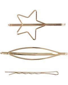Haarspange, L: 70 mm, B: 32 mm, Vergoldet, 3 Stck./ 1 Pck.