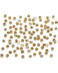 Quetschperlen, D: 2 mm, Vergoldet, 100 Stck./ 1 Pck.
