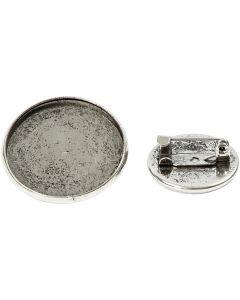 Brosche, D: 18+25 mm, Antiksilber, 6 Stck./ 1 Pck.