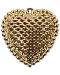 Herz, Größe 28x29 mm, Lochgröße 1 mm, Vergoldet, 1 Stck.