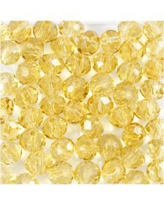 Glasschliffperlen, D: 4 mm, Lochgröße 1 mm, Gelb, 45 Stck./ 1 Strg.