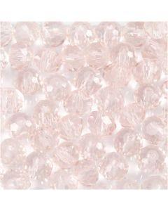 Glasschliffperlen, D: 4 mm, Lochgröße 1 mm, Hellrosa, 45 Stck./ 1 Strg.