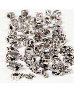 Verbindungsperle, D: 7-18 mm, Lochgröße 4 mm, Inhalt kann variieren , Antiksilber, 100 g/ 1 Pck.