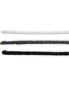 Nylondraht, L: 40 cm, Stärke: 1,5 mm, Schwarz, Grau, Weiß, 6 Stck./ 1 Pck.