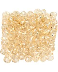 Glasschliffperlen, Größe 3x4 mm, Lochgröße 0,8 mm, Topaz, 100 Stck./ 1 Pck.