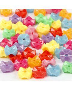 Plastikperlen, D: 9,5 mm, Lochgröße 1,5 mm, Sortierte Farben, 125 ml/ 1 Pck., 75 g