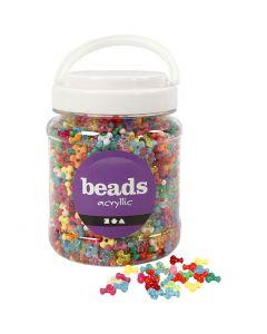 Kunststoffperlen-Mix, D: 10 mm, Lochgröße 2 mm, Sortierte Farben, 700 ml/ 1 Dose, 385 g