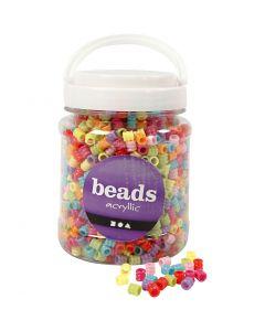 Fass-Perlen, Mix, D: 7 mm, Lochgröße 3,5 mm, Sortierte Farben, 700 ml/ 1 Dose
