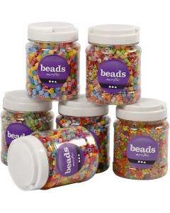 Perlen-Mix - Sortiment, Größe 7-10 mm, Lochgröße 2-4 mm, 2400 g, Sortierte Farben, 6x700 ml/ 1 Pck.