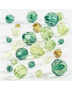 Facettenperlen-Mix, Größe 4-12 mm, Lochgröße 1-2,5 mm, Grün mit Glitter, 45 g/ 1 Pck.