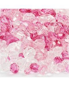 Facettenperlen-Mix, Größe 4-12 mm, Lochgröße 1-2,5 mm, Pink (081), 250 g/ 1 Pck.