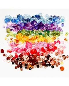 Facettenperlen-Mix, D: 4-12 mm, Lochgröße 1-2,5 mm, Sortierte Farben, 7x250 g/ 1 Pck.