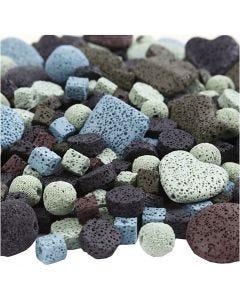Lavaperlen-Mix, Größe 6-37 mm, Lochgröße 1+2 mm, Inhalt kann variieren , Sortierte Farben, 20 Strg./ 1 Pck.