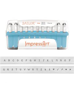 Prägestempel-Set, Größe 4 mm, Schrifttype: Sailor , 33 Stck./ 1 Set